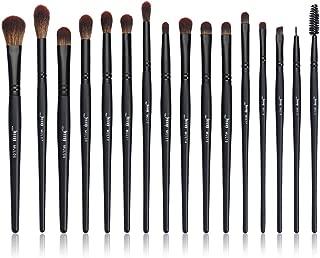 Jessup Eye Brushes Set, Vegan Makeup Brushes with Concealer Powder Eyeshadow Blending Eyeliner Spoolie Brush, 16pcs Premium Synthetic Black Cosmetic Brush T272