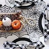 DERAYEE 5 Stück Halloween Deko Kamintuch Tischläufer Lampenschirm Tischdecke Schläger Deko Stoff Horror Deko Tuch schwarz - 5