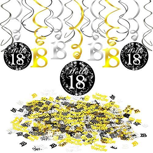 Howaf 18 cumpleaños Decoración Colgante remolinos Adornos de espirales y Feliz cumpleaños & 18 Mesa Confeti para 18 Años Decoraciones Fiesta de Cumpleaños