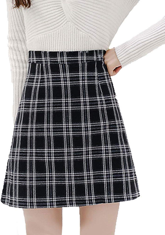 Amalxl Women's Korean Elegant Mid Bodycon High Waisted Zip Back Plaid Hip Skirts