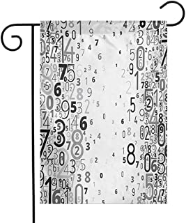 Zzmdear Decorative Garden Flag, Beautiful Decoration, Vector School Design Mathematic Frame Like Numbers in a Row Image Work of Art, Black and White, 12