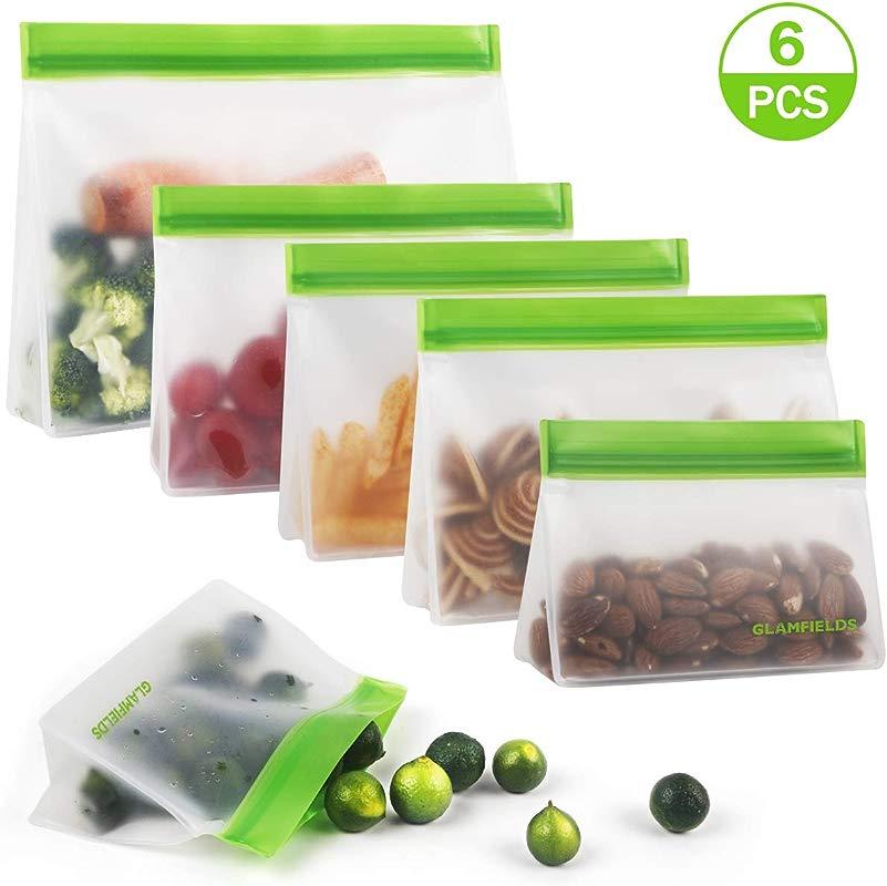 Reusable Sandwich Bags 6pack Reusable Food Storage Bags Glamfields BPA Free Leak Proof Ziploc Snacks Bags For Kids Adult Lunch Freezer Fruit Travel FDA Certified 6Pack Green