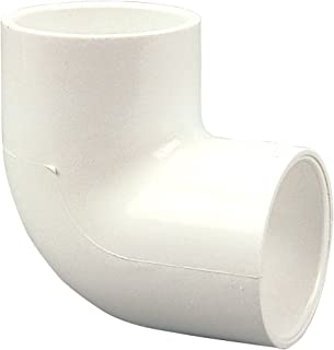 NIBCO 406 Series PVC Pipe Fitting, 90 Degree Elbow, Schedule 40, 2