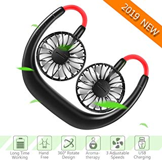 FecPecu Hand Free Neck Fan 2019 New 2000mah Rechargeable Personal USB Neck Fan 360 Degrees Free Rotation & 3 Speed Adjustable, Wearable Fan with Double Fans for Outdoor, Office, Travel (Black)