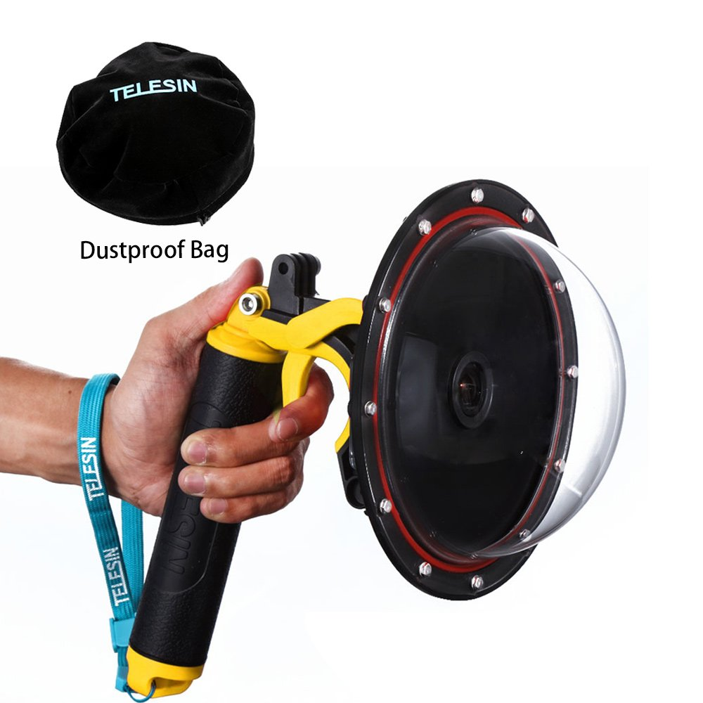 with Waterproof Housing Case Pistol Trigger Floating Hand Grip Hero 3 TELESIN 6Dome Port Camera Lens Transparent Cover for GoPro Hero 4 Hero 3 Underwater Diving Photography GoPro Accessories