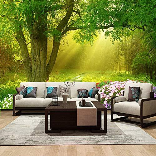 3D Fototapete Tapeten Wandbilder Forest Park, Sonnenschein, Schmetterling Tapete Wandtapeten Für Schlafzimmer Wohnzimmer Büro (W) 200X(H) 140Cm