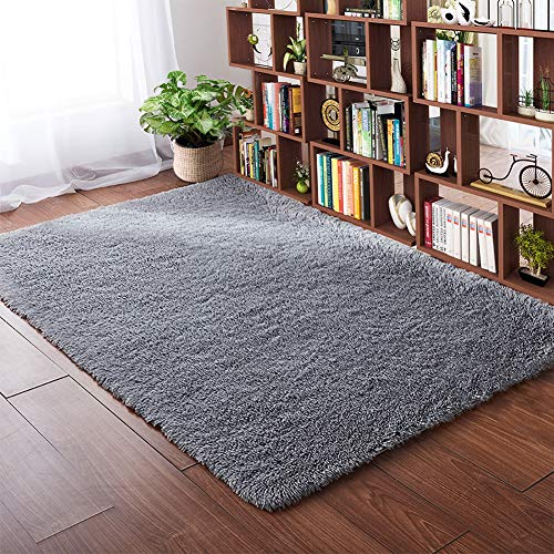Softlife Fluffy Bedroom Area Rugs 4 x 5.3 Feet Shaggy Nursery Rug for Girls Baby Kids Dorm Room Modern Home Decorative Plush Indoor Floor Carpet, Grey