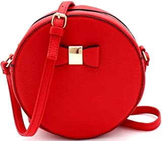 Medium Top-Handle Bow Quilted Neon Checker Vegan Leather Round Satchel Crossbody