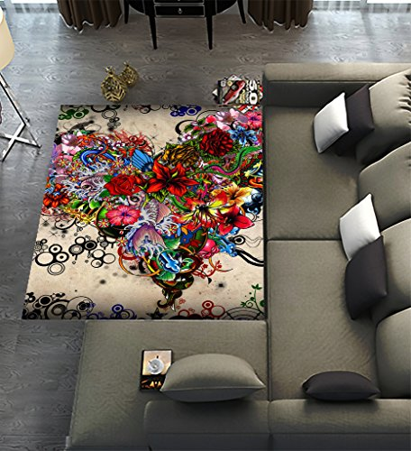 Unique Carpet Floor Rugs Mat for Home Living Dining Room Playroom Decoration,Wallpaper Stars Flowers Heart Emotions Colorful Area Rugs 7'x5'