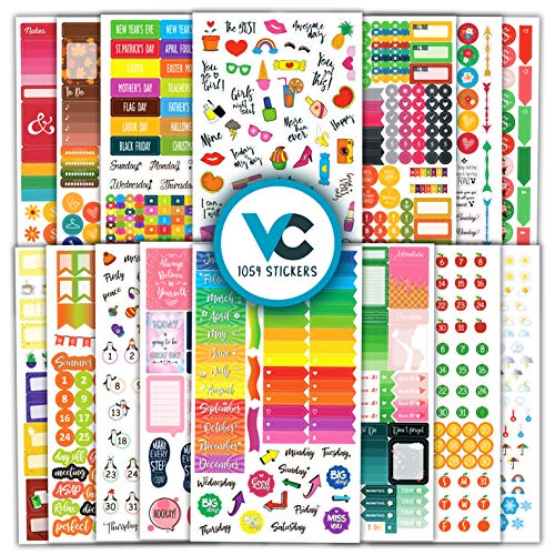 Vladi Creative Planner Stickers (Set of 1054 Stickers Value Pack) - Functional & Decorative Life Planner Stickers Set for Monthly, Weekly & Daily Planners, Journals, Notebooks & Calendars
