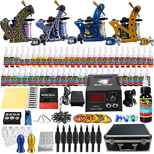 Solong Tattoo® Kit de Tatouage Complète 4 Machine à Tatouer Professionnelle 54 Encres Power Supply Aiguille de...