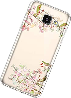 Funda Compatible con Samsung Galaxy A5 2016,Carcasa Transparente Creativo Flores Diseño Patrón Cristal Suave Silicona TPU ...