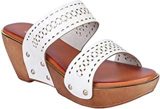 MSC Synthetic Fancy White Wedges Sandal for Women