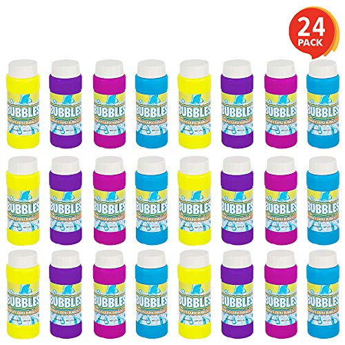 ArtCreativity 35 Inch Bubble Blower Bottles with Wands  24 Pack  Bubble Toy for Kids with 2oz of Solution  Outdoor Summer Fun  Birthday Party Favors Supplies for Boys and Girls  Assorted Colors