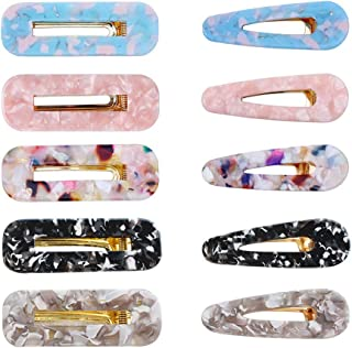 10 Pcs Acrylic Hair Clips - Water Drop & Rectangle Shape Vintage Style Hair Pins, Glitter Duckbill Hair Accessories Designed for Both Women & Girls