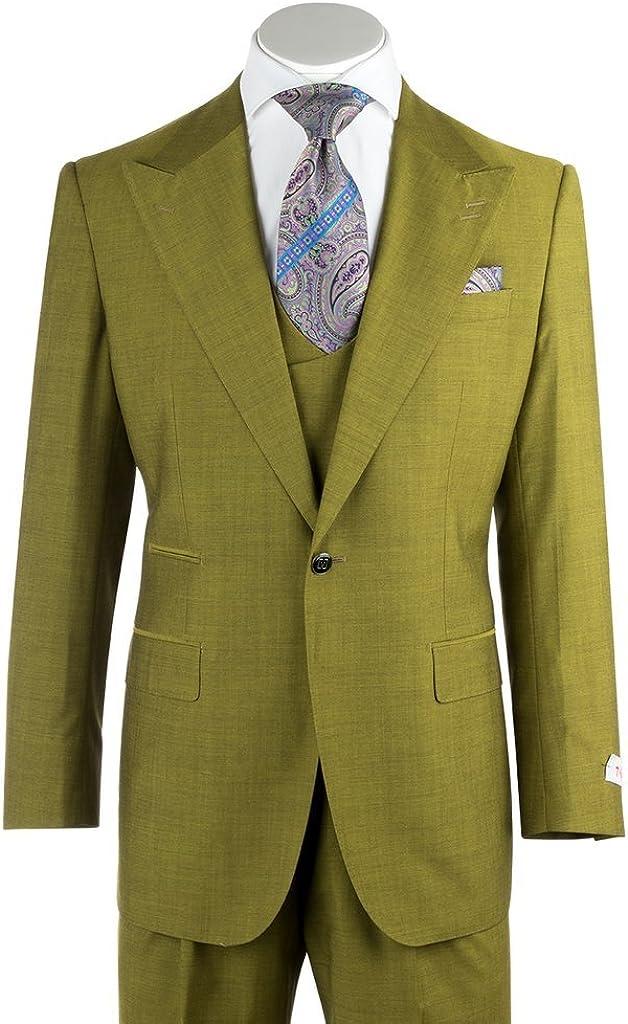 Tiglio Rosso Luca Tea Green Wide Leg, Pure Wool Suit & Vest 876601/4107