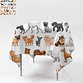 FANOEWI Creative Square Tablecloth Different Type of Dogs Small and Big Dalmatian Golden Fur Fluffy Faithful Creature Buffet Table,Parties,Holiday Dinner,Wedding,Picnic,Kitchen Brown Gray 63x63