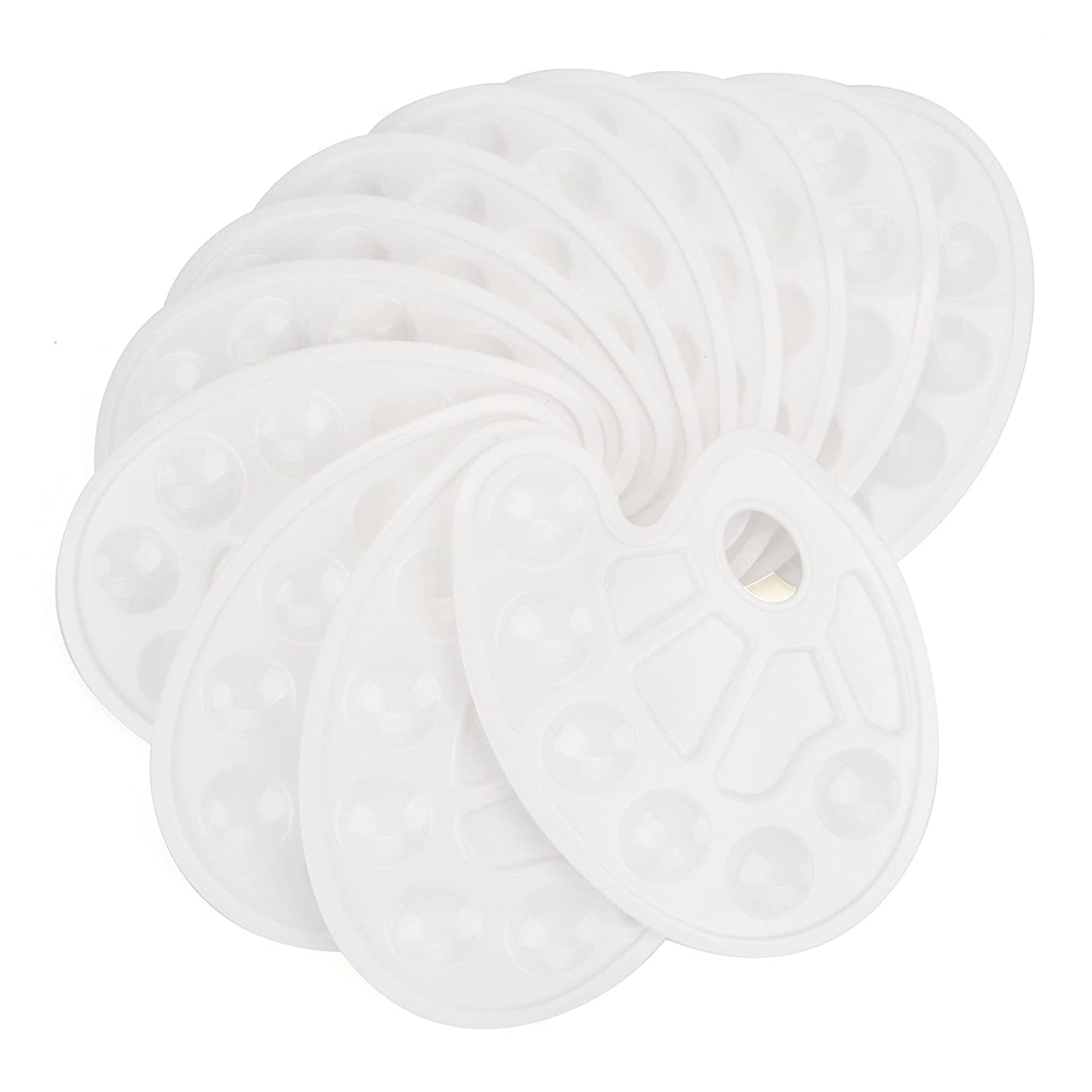 Tosnail White Paint Tray Palettes with Ten-well Thumb Hole - 12 Pack