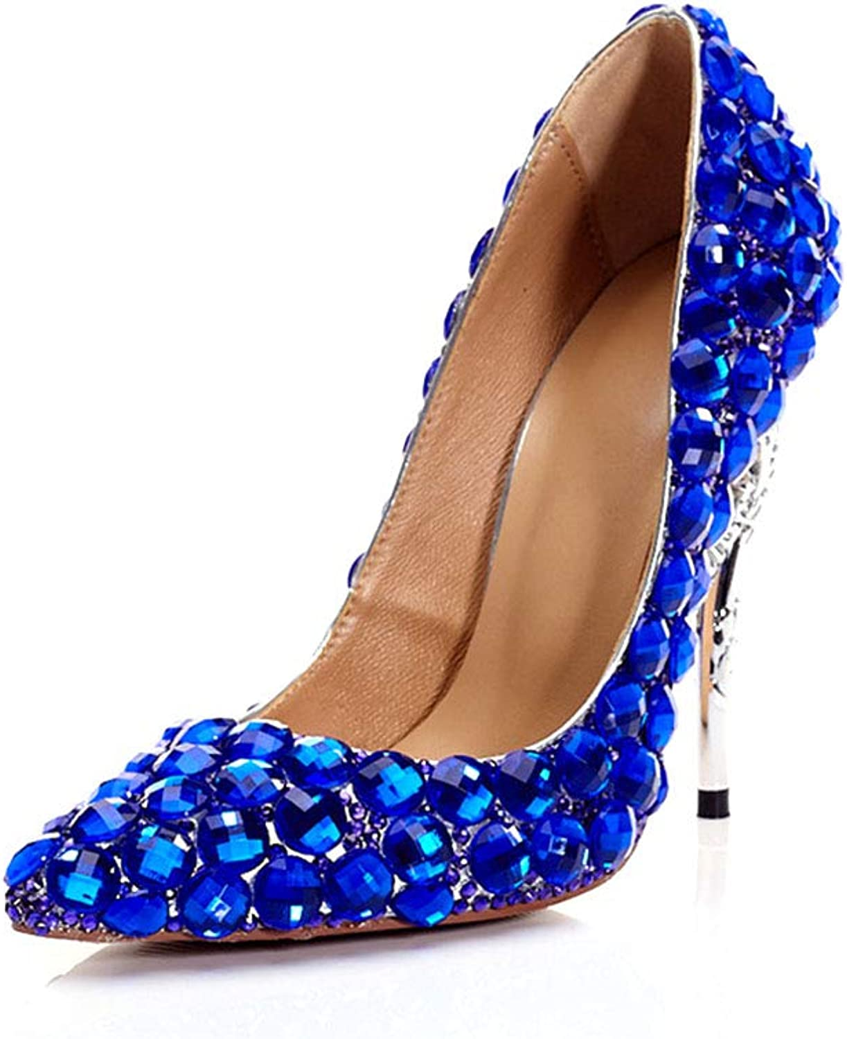Women's Fashion Single shoes Sapphire bluee Crystal Pointed Stiletto Shallow Mouth Bride Sexy High Heels USA Size