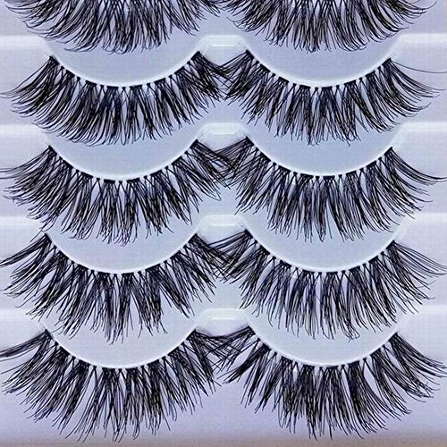 Brussels08 5 Pairs Long Cross False Eyelashes Makeup Natural Looking Full Cover Thick Black Fake Eye Lashes Extension Soft Flase Eye Lashes Reusable Fake Eyelashes Cosplay Party Gifts M