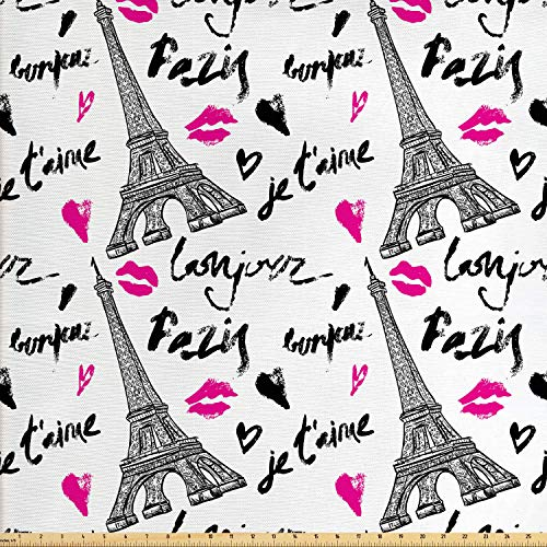 Ambesonne Paris Fabric by The Yard, Eiffel Tower Lipstick Kiss Heart Shape Words Love Touristic Architecture, Decorative Fabric for Upholstery and Home Accents, 2 Yards, White and Black