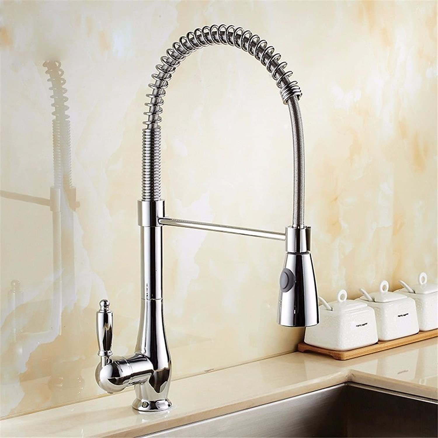 AQMMi Basin Sink Mixer Tap for Lavatory Spring Pull-Out Hot and Cold Water redatable Chrome Bathroom Vanity Sink Faucet