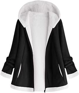 Plus Size Women's Hooded Plush Coat Fashion Button Tops Loose Overcoat Wool Jacket Winter Outwear DongDong