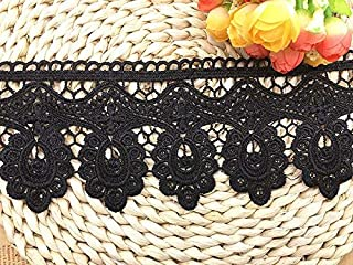 9.5CM Width Europe Floral Venise Pattern Inelastic Embroidery Trims,Curtain Tablecloth Slipcover Bridal DIY Clothing/Accessories.(4 Yards in one Package) (Black)