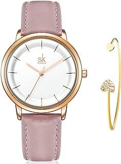 Women Watch Leather Strap Quartz Fashion Ultra Thin Ladies Watch Gift Set for Women with Bracelet Gift reloj de Mujer