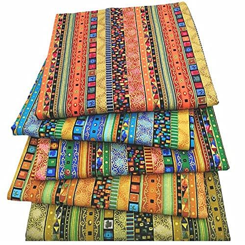 Mungowu Tessuto di Cotone Motivo Etnico Patchwork Pre-Tagliato Quilting Panno Stampato Fasci di Tessuto per Protezioni per Il Viso DIY Crafting