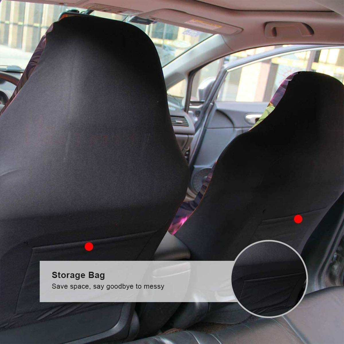 Demon Slayer Anime Car Seat Covers Premium Flat Universal Fit Automotive Mat Covers Front Back Auto Seat Cover Vehicle Seat Protector Fit Most Car Sedan 1 PCS