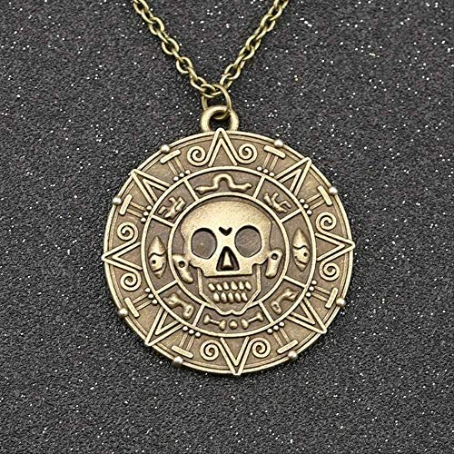 Yiffshunl Necklace Pirates of The Caribbean Necklace Aztec Coin Locket Necklace Vintage Jewelry with Gold Bronze Pendant Pendant Necklace Girls Boys Gift