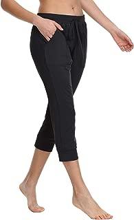 Women's Drawstring Capri Lounge Pants Pockets Yoga Joggers Running Lightweight Activewear Sweatpants