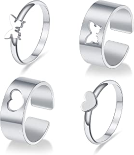 4Pcs Butterfly Rings for Women, Couple rings Matching Promise Wedding Set Friendship For Teen Girls Men Adjustable electro...