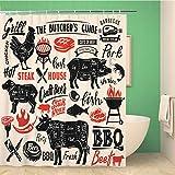 Awowee Dekorativer Duschvorhang, Rinderfleisch, Steakhaus, Scheme, Schriftzug, Schnitt, Schwein, Grill, 180 x 180 cm, Polyester, wasserdicht, Badvorhang-Set mit Haken für Badezimmer