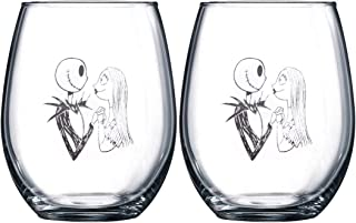 Nightmare Before Christmas Collectible Wine Glass Set (Jack & Sally)