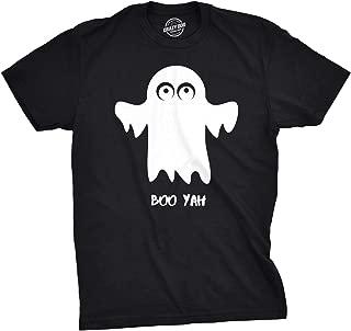 Mens Boo Yah Funny Spooky Cute Halloween October Fall Ghost T Shirt