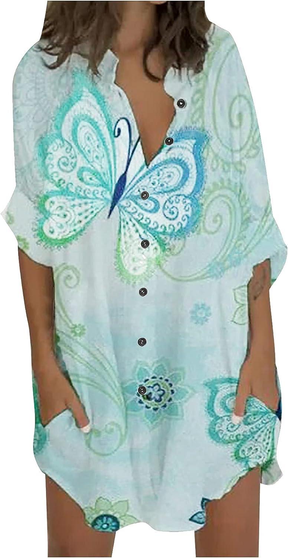 Women's Fashion Nine-Quarter Sleeve Shirt Dress Printed Splicing Shirt