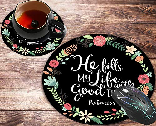 Round Mouse Pad and Coasters Set, Psalm 103:5 He Fills My Life with Good Things Bible Verse Art Print Mousepad, Anti Slip Rubber Round Mousepads Desktop Notebook Mouse Mat for Working and Gaming