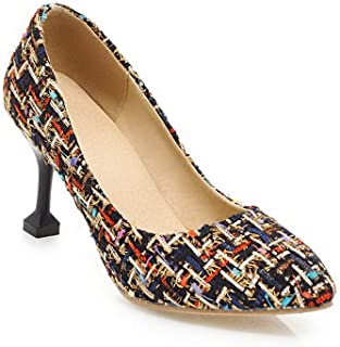 BalaMasa Womens Assorted Colors Travel Fabric Black Urethane Pumps Shoes APL10595-10.5 B(M) US