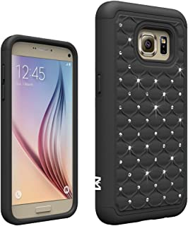 MagicSky S7 Case, Galaxy S7 Case, [Shock Absorption] Studded Rhinestone Bling Hybrid Dual Layer Armor Defender Protective Case Cover for Samsung Galaxy S7 (Black)