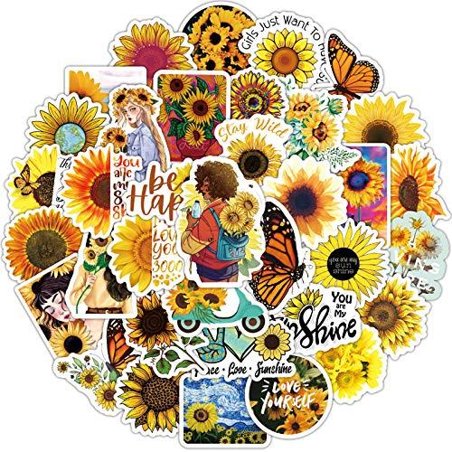 JZLMF 50 Girasole Classico Primavera Floreale Doodle Adesivi Animazione Personaggio dei Cartoni Animati Tazza d'Acqua Trolley Sticker Ragazza