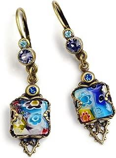 Millefiori Glass Vintage Square Earrings, Millefiori Jewelry, Boho Earrings, Festival Jewelry, Retro Summer Earrings, Murano Glass E1382