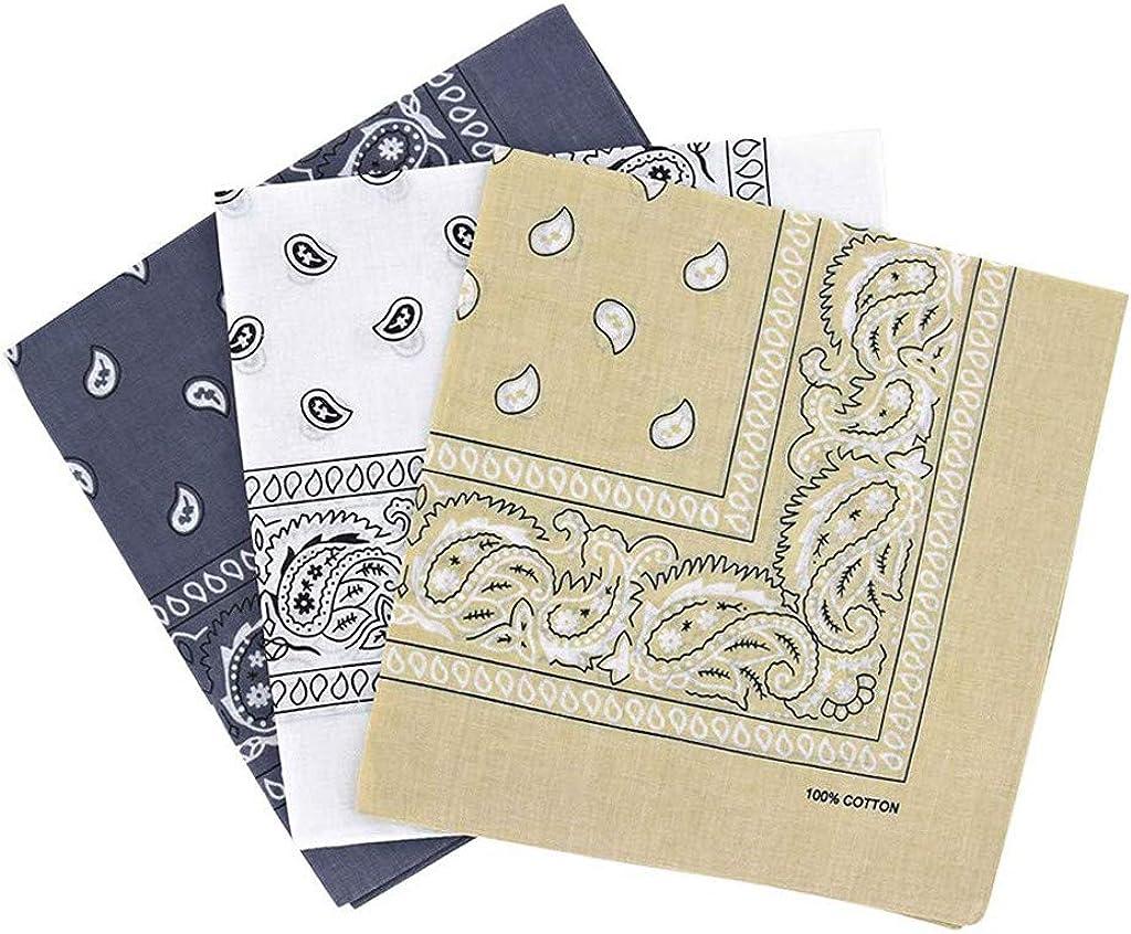 Large Bandana Handkerchiefs - 55cmx 55 cm 3 PC Head Bandannas for Men & Women - Colorful Paisley Cowboy Bandana Pack