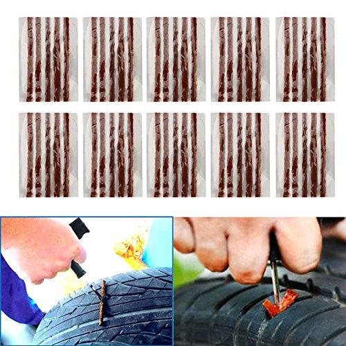 BRAUTO 50Pcs Kit de Repara Pinchazos de Mecha para Reparación Pinchazos Neumáticos de Coche Moto 10cm