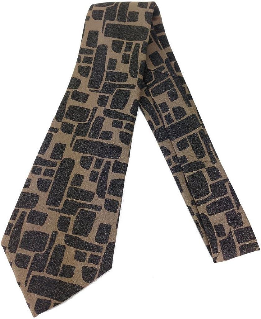 Bronze Stones Vintage Tie - Jacquard Weave Wide Kipper Necktie Brown