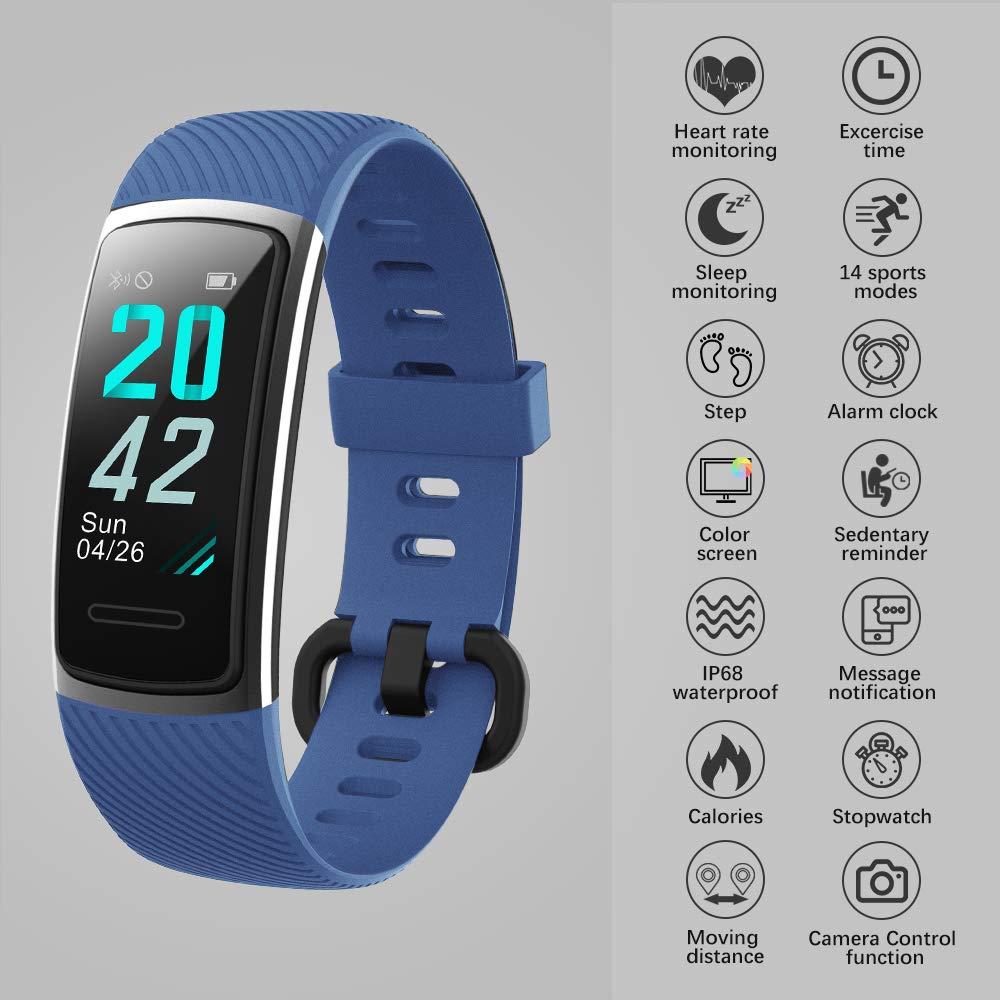 KUNGIX Pulsera Actividad Inteligente, Impermeable IP68 Pulsera Inteligente 0,96 Pulgadas Pantalla Color, Monitor Ritmo Cardíaco y Sueño 14 Modos de Deporte Mujer Hombre Niño Smartwatch Android y iOS: Amazon.es: Deportes y aire