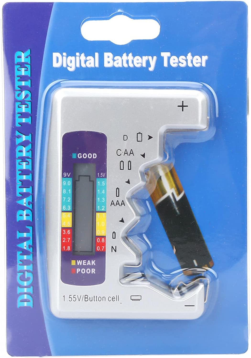 Eujgoov Digital Battery Tester Battery Capacity Detector Electronic Tool Rechargeable Battery Measuring whether the Battery is fully Charged (90 x 60mm)