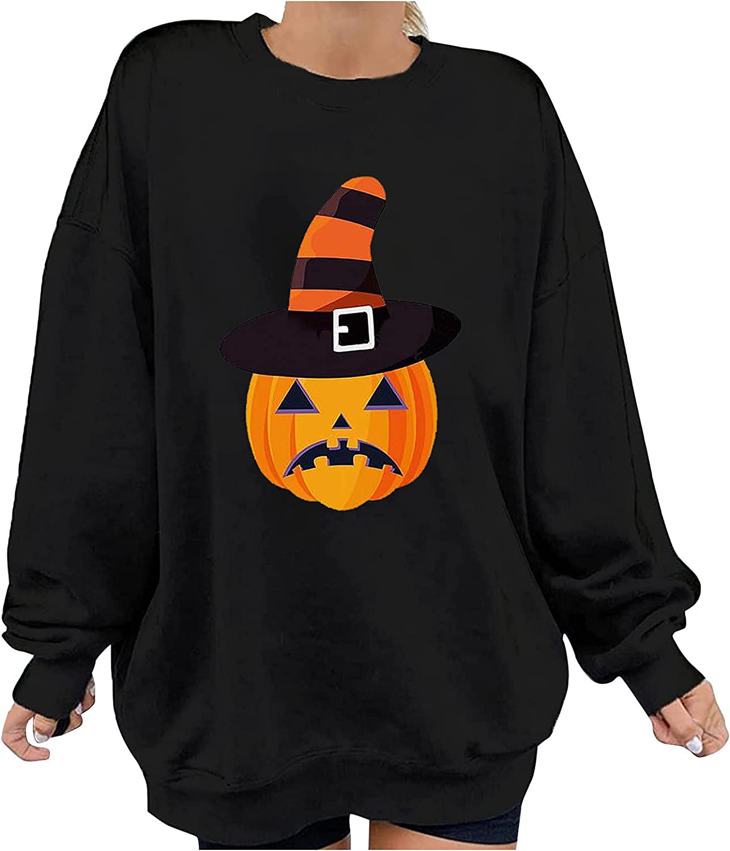 felwors Womens Halloween Sweatshirts, Womens Loose Pullover Tops Long Sleeve Skeleton Pumpkin Print Oversized Shirts