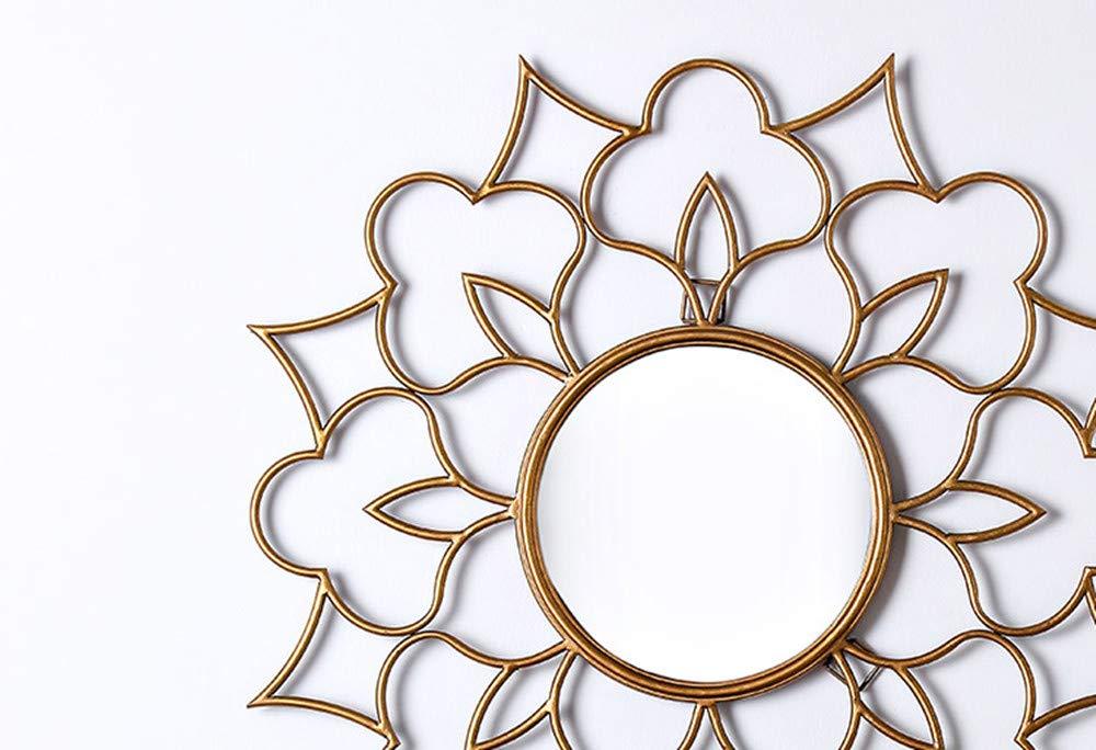 مرآة حائط دائرية مزخرفة مزخرفة بشكل زهرة أديلا مرآة حائط دائرية معلقة على شكل صراع الشمس لغرفة المعيشة المطبخ لمسة نهائية ذهبية قطر 35 بوصة Amazon Ae